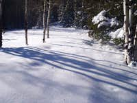 Smooth snow leaving trail