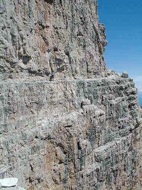 the narrow ledge of sentiero...
