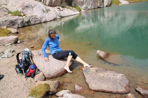 Soaking feet in Twin Lakes