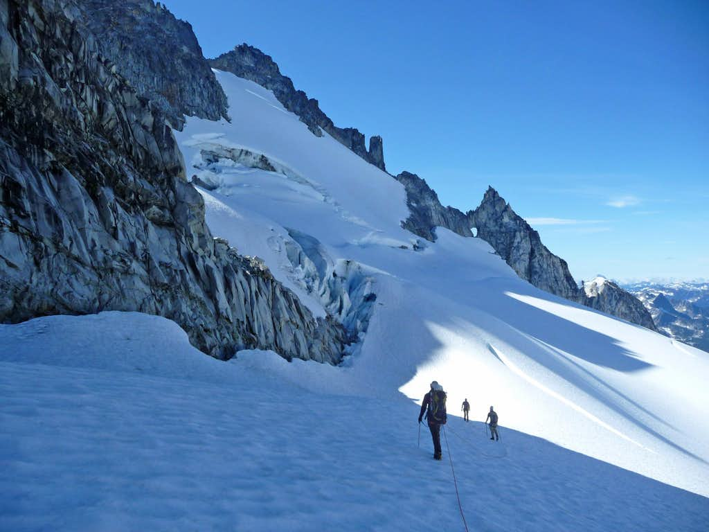 Hiking up the Dome Glacier