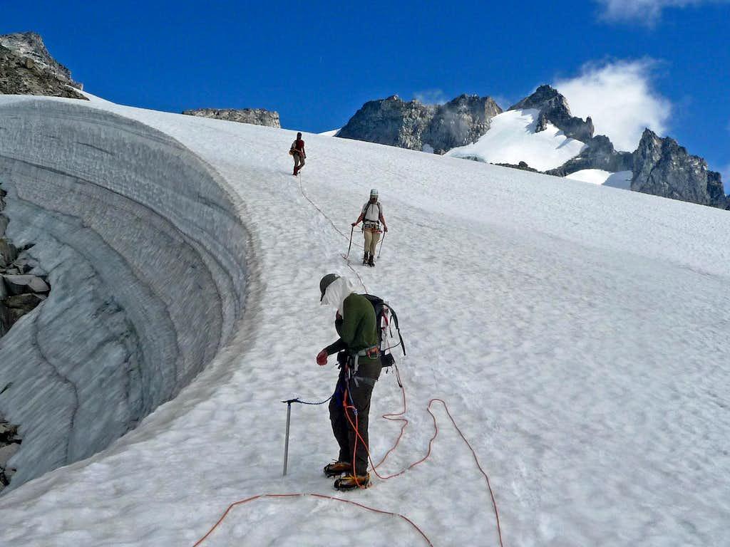 Unroping on the Dome Glacier