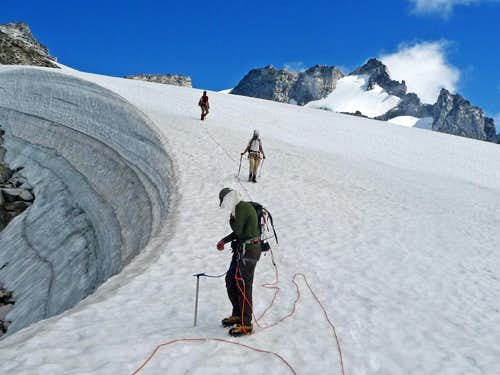 Unroping on the Dome Glacier