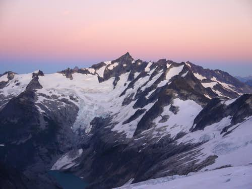 Forbidden Alpenglow from Eldorado East Ridge High Camp
