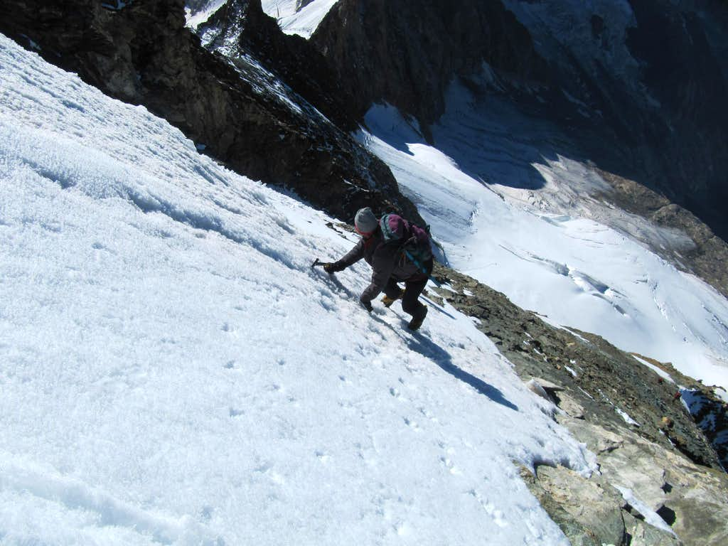 Some snow couloir below the summit