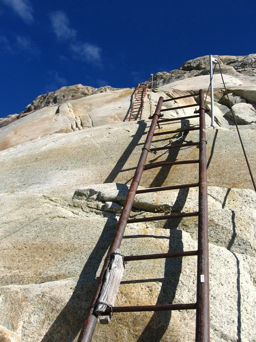 Ladders to the hut