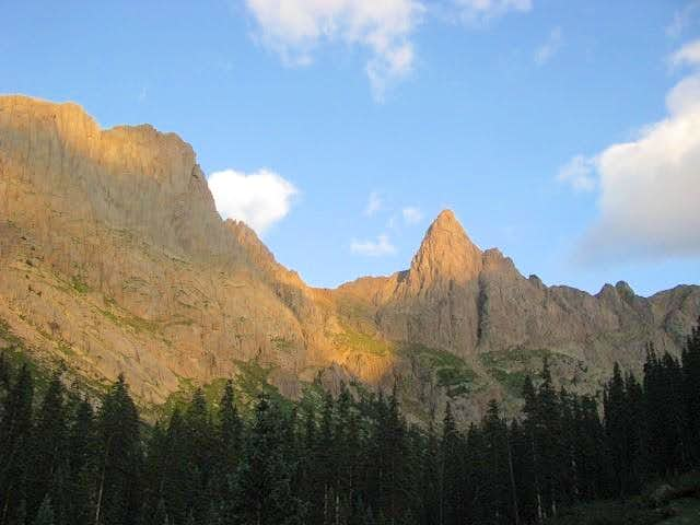 Knife Point and Peak Ten in alpenglo