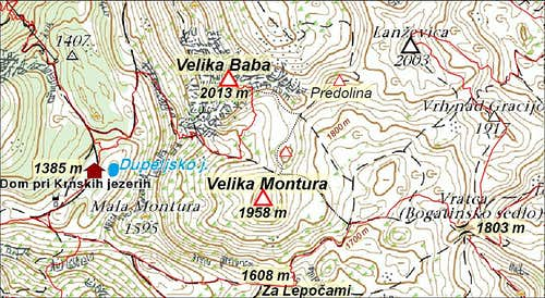 Velika Baba and Velika Montura map