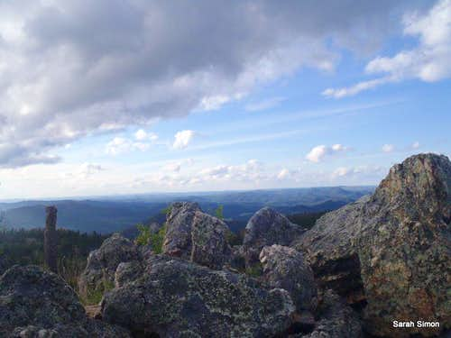 Over the summit boulders