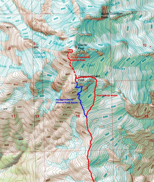 Map of the two prominent routes up Disappointment Peak