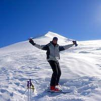 José snowboarding on Lonquimay