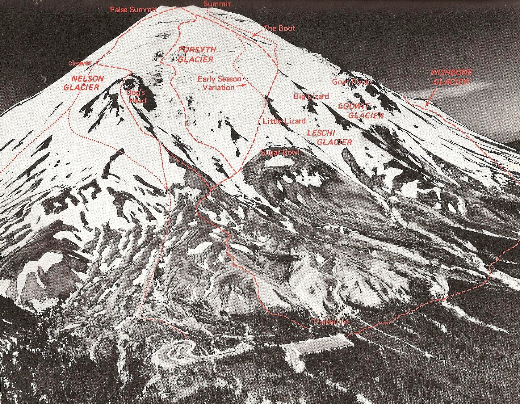 Mount Saint Helens pre-eruption climbing routes from 1973 Cascade Alpine Guide