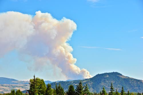 Forest fire near Jackson Hole Wyoming