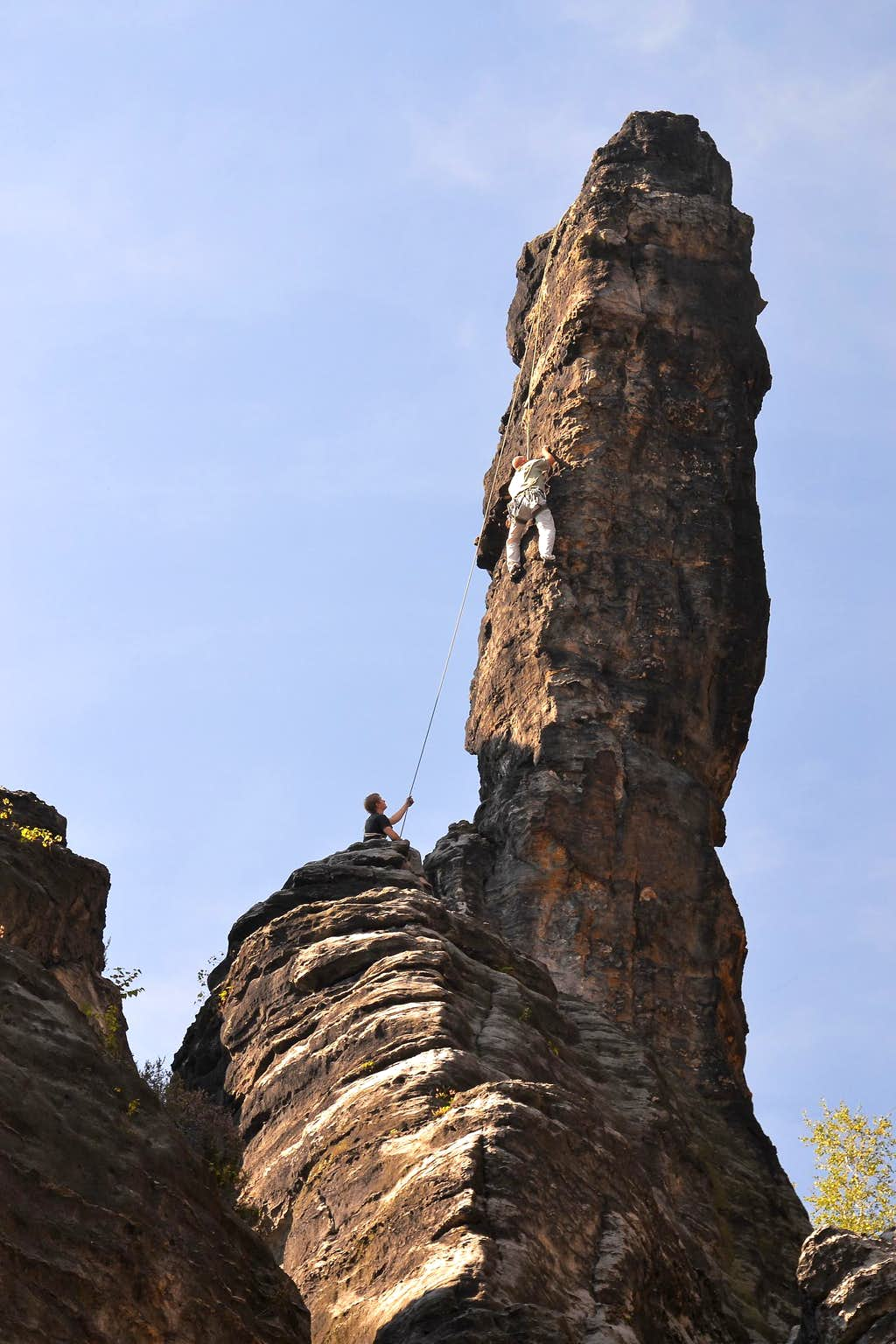 Climbers in the Bielatal valley