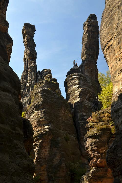 """Symmetrical"" slender sandstone pillars above the Bielatal valley"
