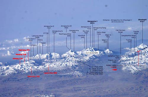 Annapurna and Dhaulagiri from the International Space Station - annotated and corrected