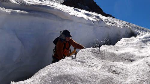 Climbing out of a crevasse on Bolam Glacier, Mt Shasta