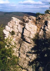 The cliff face of the...