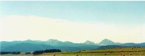 The Pintler Range from rt....
