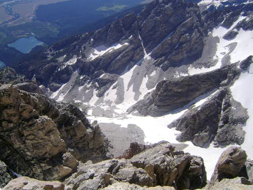 Looking down at the Petzoldt Ridge from the Upper Exum