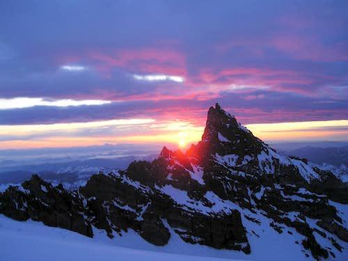 Sunrise behind Little Tahoma Peak.