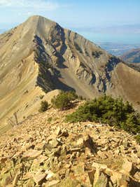 A look down the ridgeline towards Provo Peak