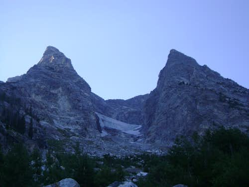 Looking up near the base of Mount Moran on the CMC Route