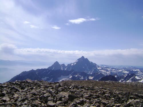 The Grand Teton and Teewinot from the summit of Mount Moran