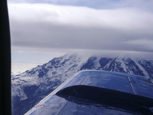 Flying by a stratovolcano in the aleutian range