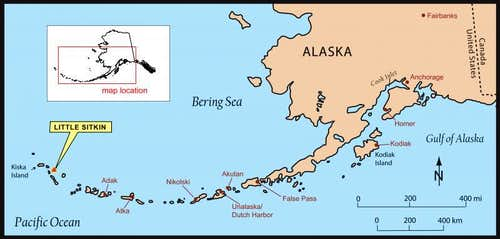 Map of the Aleutian Range