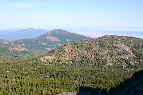Pelican Butte, Mount Harriman, and Mount Carmine from Aspen Butte.
