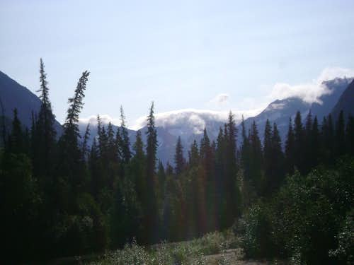 Distant foggy peak in the Chigmit Mountains