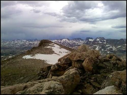 Stormy summit of Lonesome Mountain-Beartooth Range MT