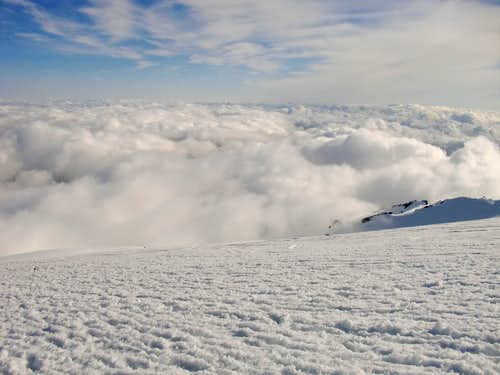 A ocean of clouds on Mt Rainier