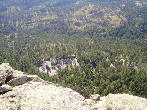 Looking over the edge from the top of Devils Tower