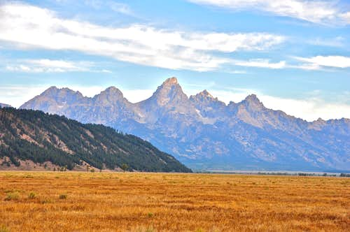 Distant view of The Grand Tetons