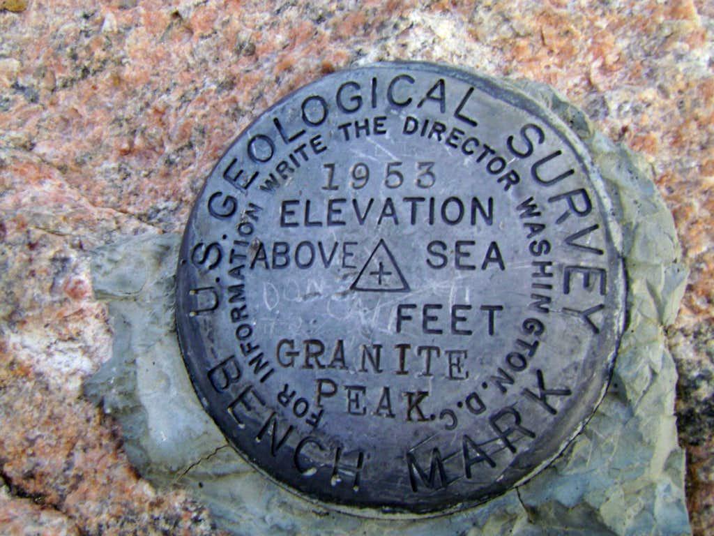 Granite Peak-USGS summit marker