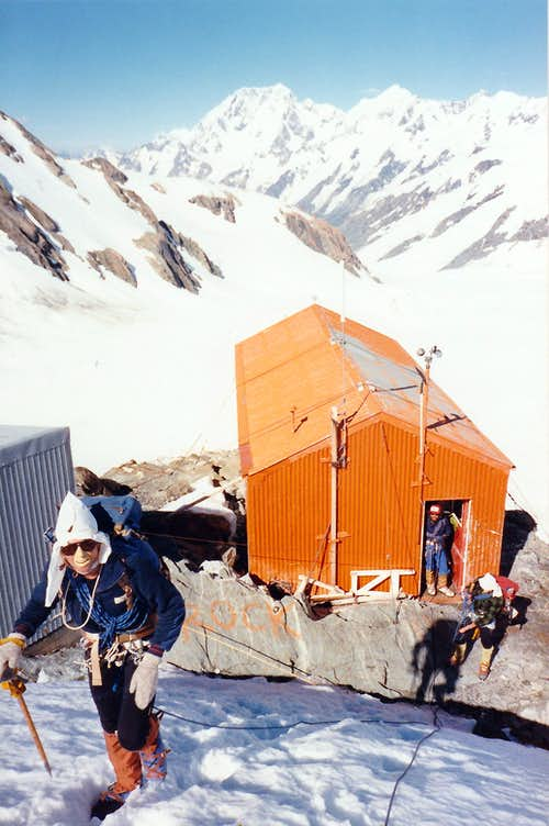 Heading out from the Tasman saddle hut,NZ in 1986