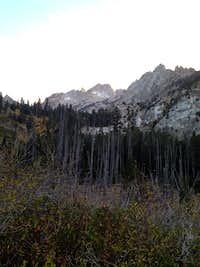 looking at Matterhorn near Twin Lakes on trail