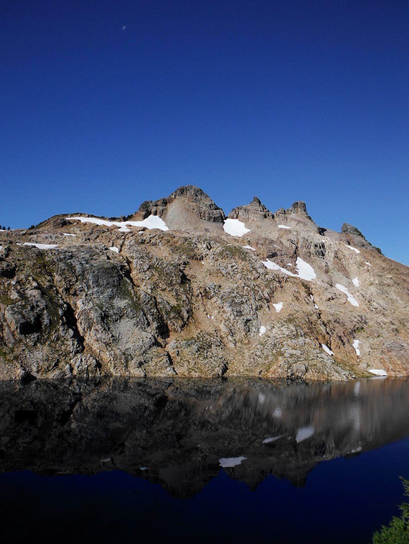 Gothic Peak over Foggy Lake