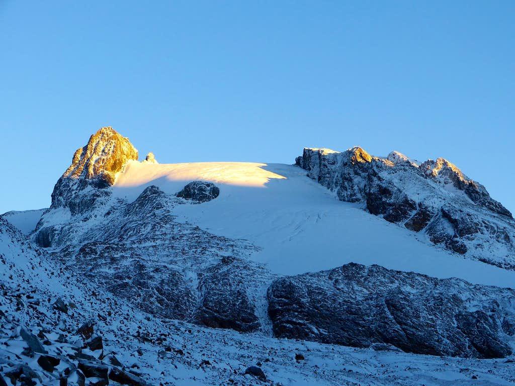 Schwarzwandspitze (3466m) at sunrise