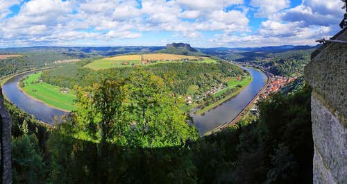 Panorama of Lilienstein and Elbe River