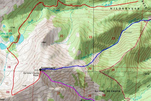 Spread Eagle Peak Topo Map