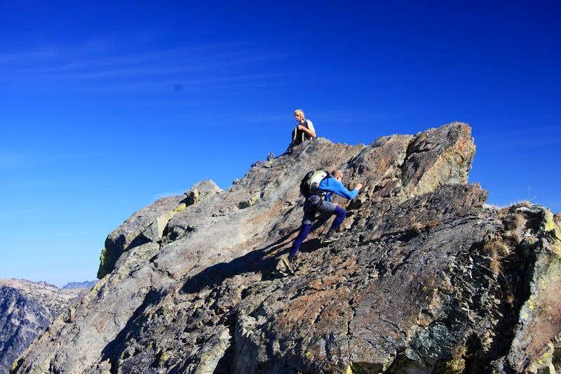 Climbing the summit slab