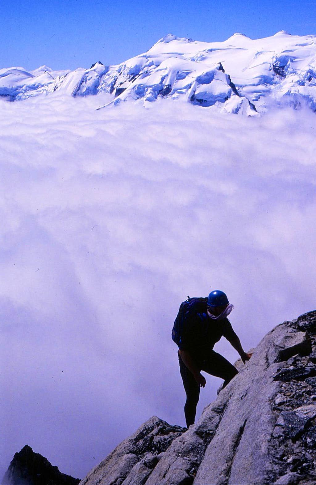 Climbing on Dentiform Peak across from Mt Waddington
