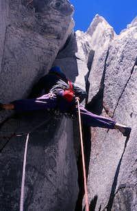 Climbing Sundog buttress on the Blade, Mt Waddington area