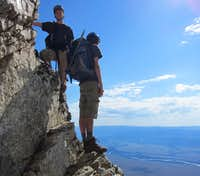 Myself and my little brother on the east face of Teewinot