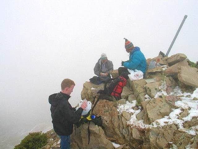 The foggy summit of Flat Top...