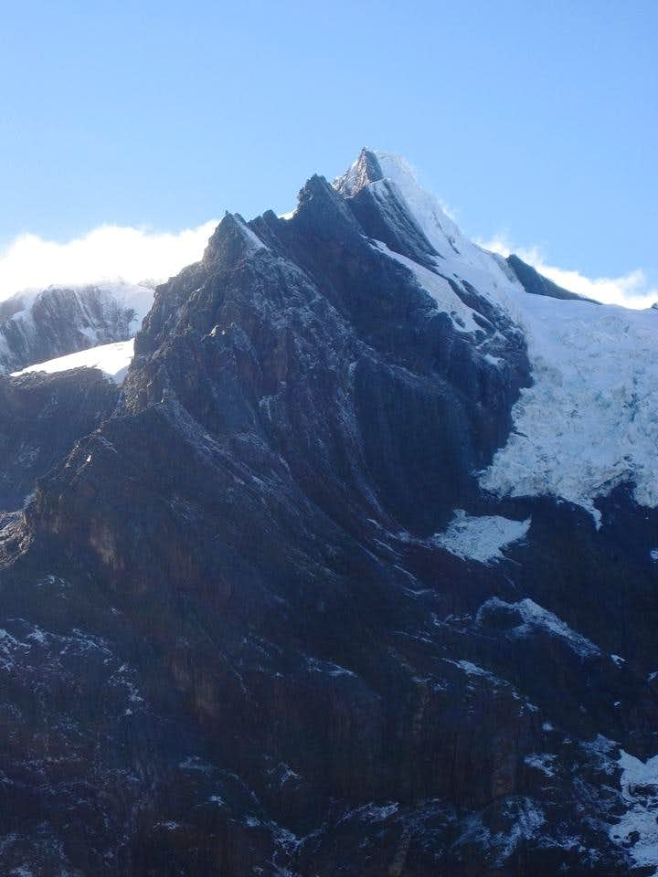 Uruashraju Norte (5464m), with the west ridge in front