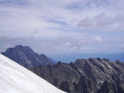 The view of Mount Moran from the Koven Route of Mount Owen