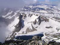 Icebergs on a high elevation lake-Visible from the summit of the South Teton